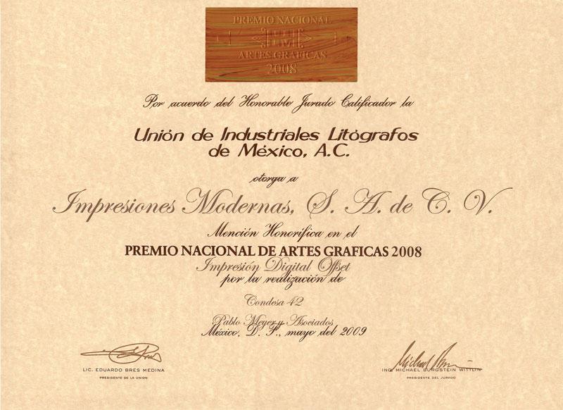 2012 FOLLETO CONDESA 42 PREMIO NACIONAL DE LAS ARTES GRÁFICAS